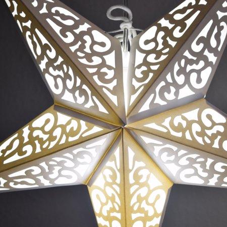"Quasimoon 24"" Atomic White w/ Tissue Paper Star Lantern, Hanging Decoration by PaperLanternStore"