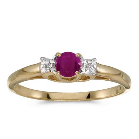 14k Yellow Gold Round Ruby And Diamond (White Gold Ruby Ring)