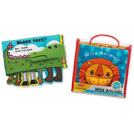 Melissa & Doug K's Kids Soft Activity Baby Book Set: Animals (Whose Feet? and Wild