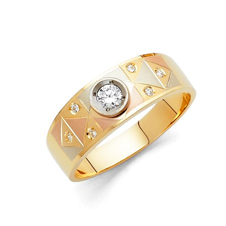 14K Solid Gold 6MM Tri Color gold Solitaire CZ Mens Wedding Band