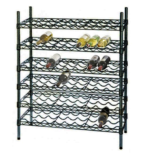 "14"" Deep x 48"" Wide x 54"" High 6 Black Shelf Single Wine Rack with 72 Bottle Storage Capacity"