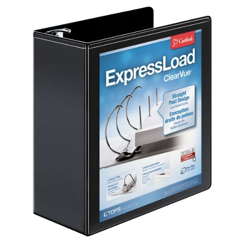 "Cardinal Expressload Clearvue Locking D-ring Binder - Letter - 8.50"" X 11"" - D-ring Fastener - Poly - Black - 1 Each (CRD49141)"