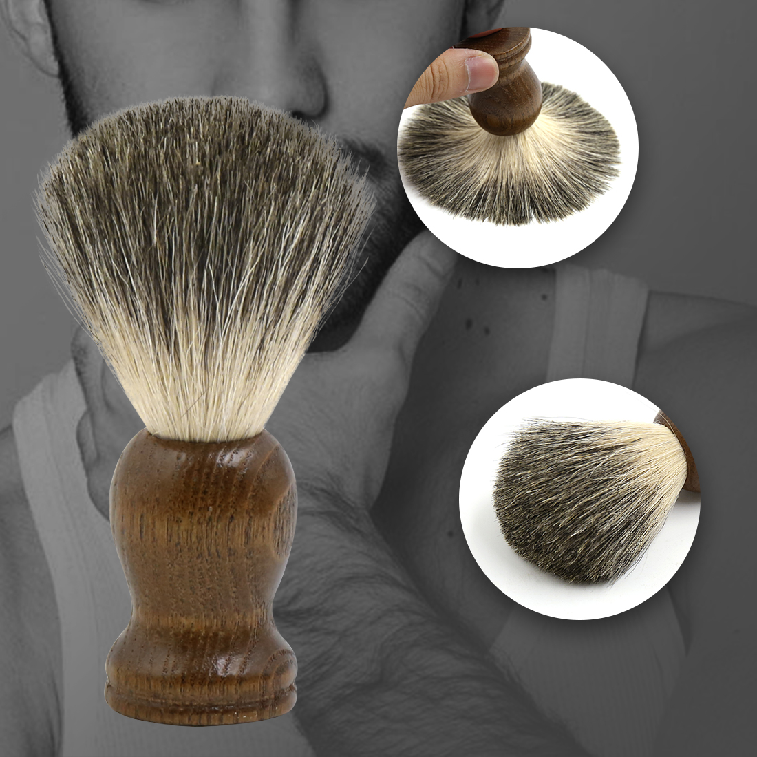 Vintage Wooden Handle Pure Badger Hair Shaving Brush Barber Tool for Men