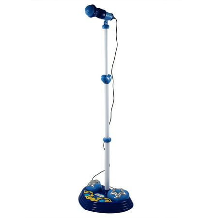 KidPlay Kids Karaoke Microphone Adjustable Stand Pop Star Musical Toy - Blue](Pop Star Microphone)
