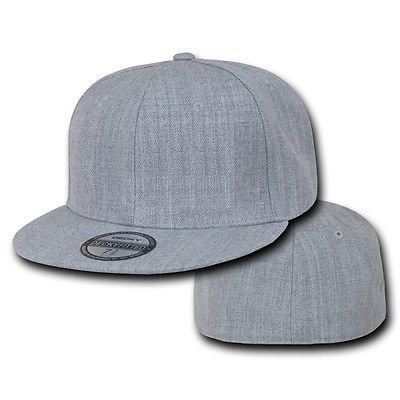 Bill 6 Panel Fitted Cap (Heather Gray Fitted Flat Bill Plain Solid Blank Ball Cap Hats - Hat / Cap _6 7/8 )