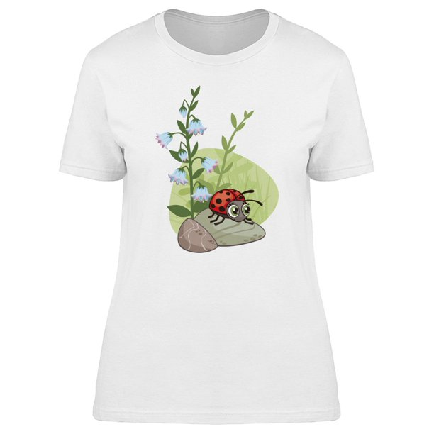 Cute Cartoon Floral Ladybug Tee Women's -Image by Shutterstock