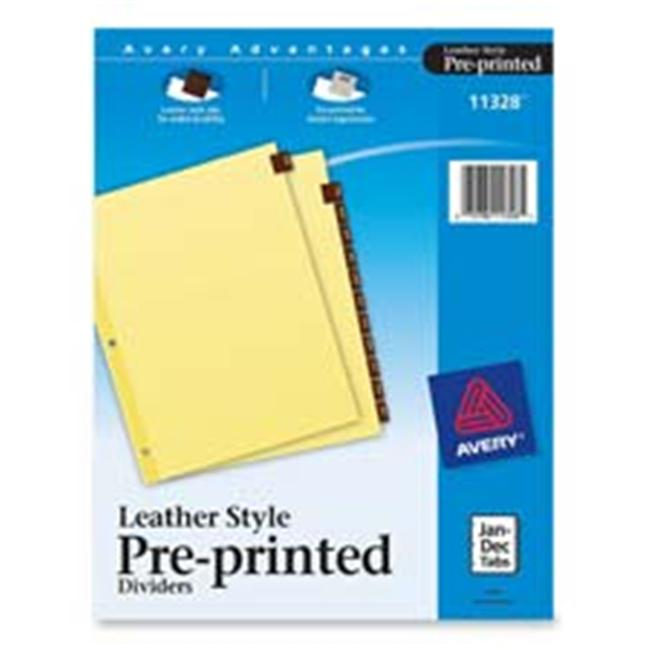 Avery Consumer Products AVE11328 Red Leather Tab Dividers- Jan-Dec- 12 Tab- 11in.x8-.50in.- Buff