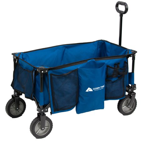 Ozark Trail Quad-Folding Wagon with Telescoping Handle, Blue (Phantom Wagon)