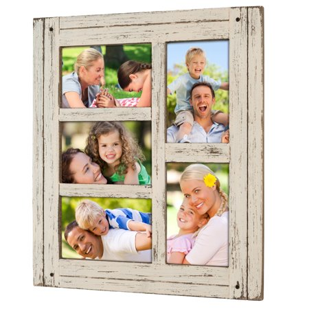 Collage Picture Frames from Rustic Distressed Wood: Holds Five 4x6 Photos: Ready to Hang or use Tabletop. Shabby Chic, Driftwood, Barnwood, Farmhouse, Reclaimed Wood Picture Frame (Proof Frames)