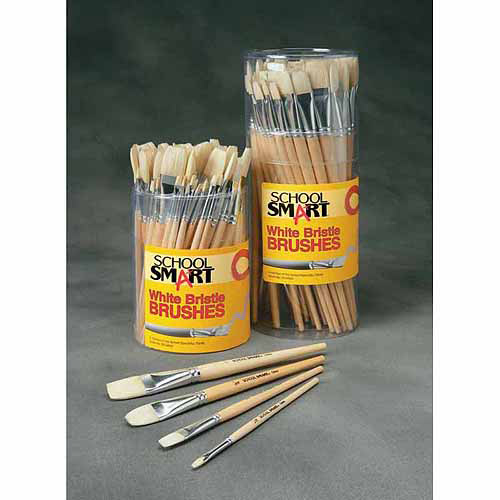 School Smart White Bristle Brush with Long Handle, Assorted Sizes, 72pk