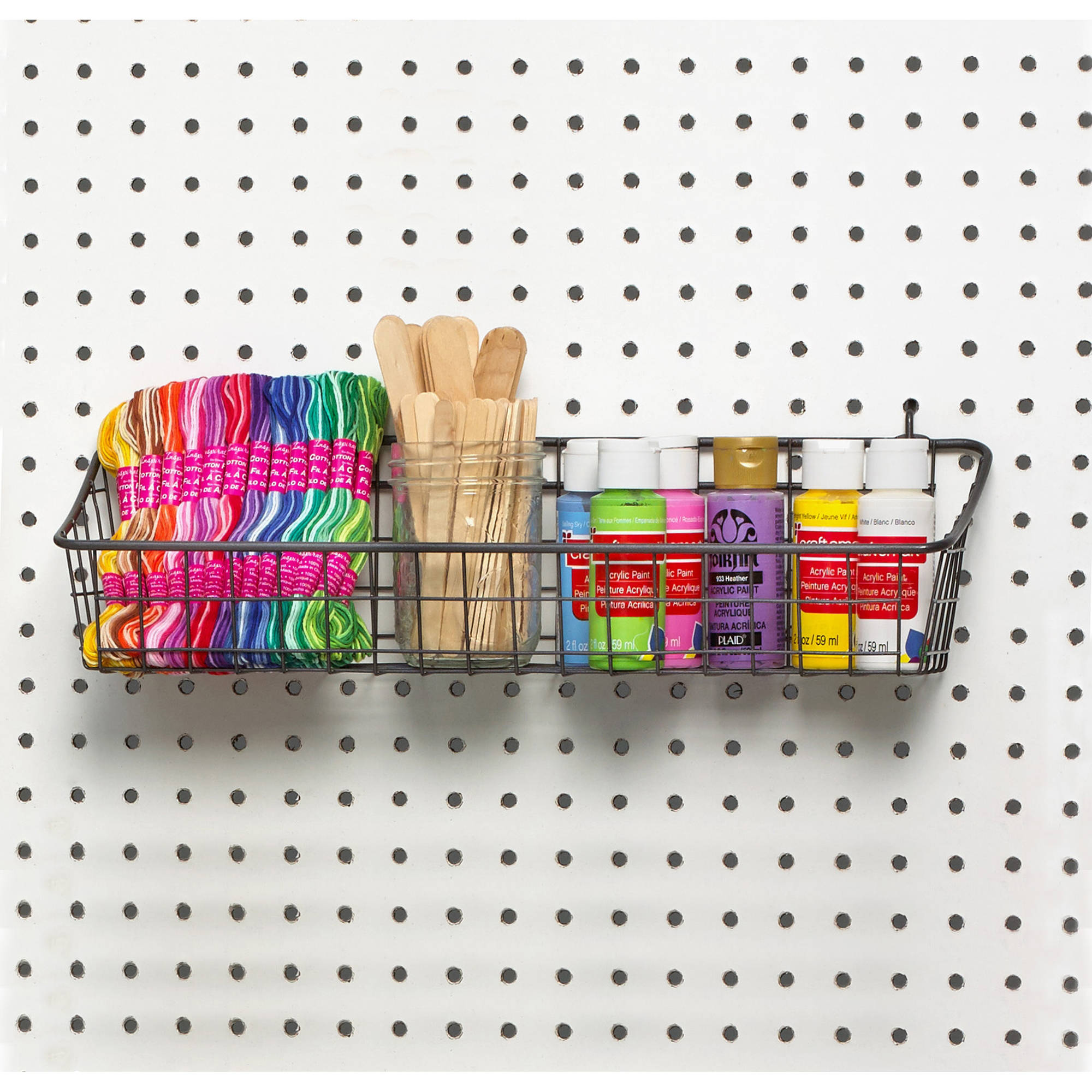 spectrum pegboard and wall mount basket industrial gray medium - Peg Boards