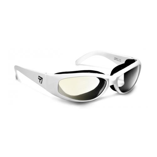 Image of 7 Eye Air Shield Chubasco Sunglasses, SharpView Clear Lens, Glacier White Frame,S-