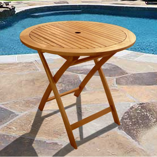 Natural Eucalyptus Wood 28 in. Round Bistro Table