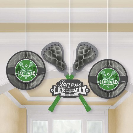Lacrosse Honeycomb Decorations (3 Count) (Lacrosse Decorations)