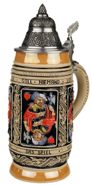 Beer Stein by King Thewalt 1894 Card Players Relief German Beer Stein (Beer Mug) 0.5l... by King Werke Germany