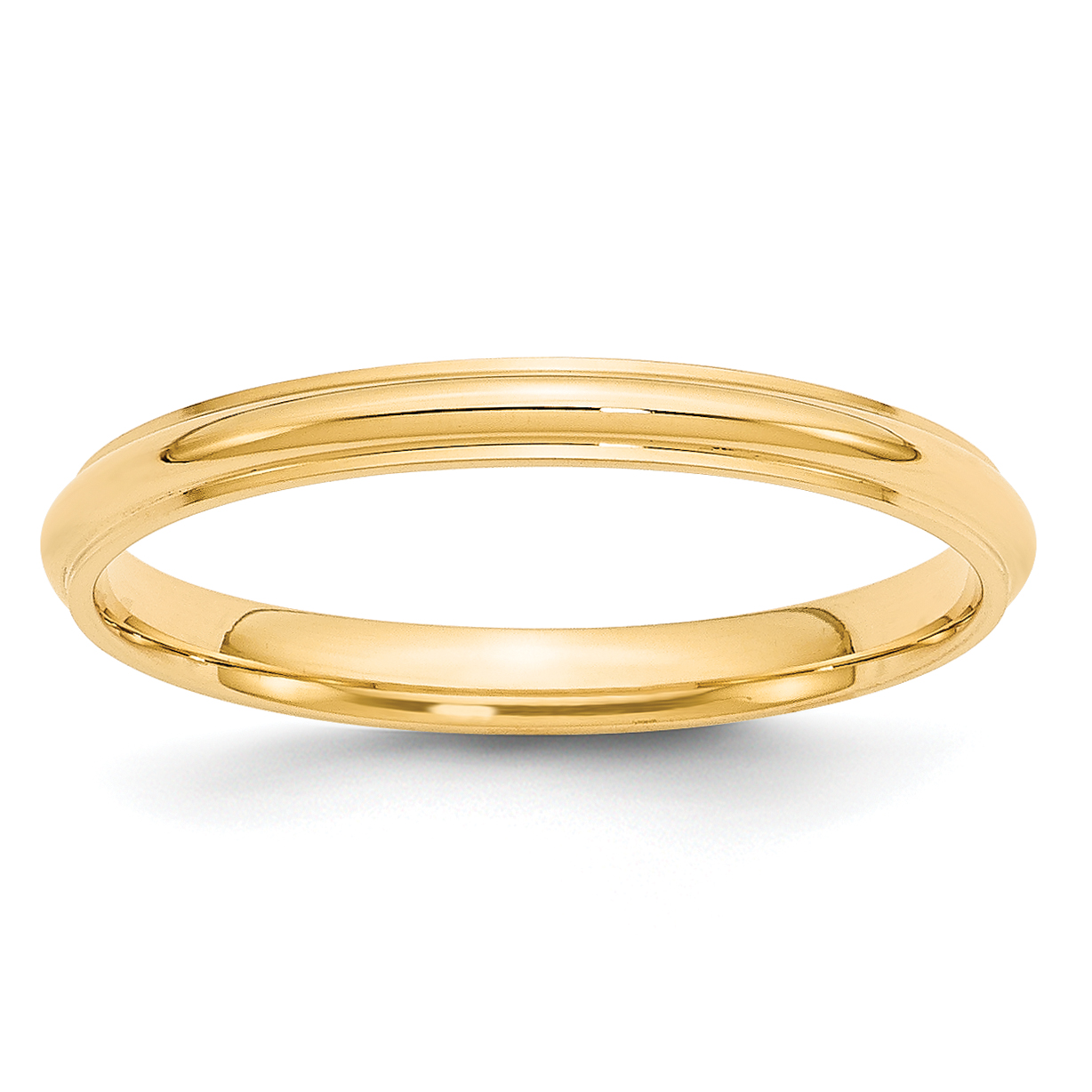 Roy Rose Jewelry 14K Yellow Gold 2.5mm Half Round with Edge Wedding Band Ring Size 4