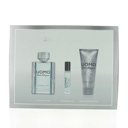 SALVATORE FERRAGAMO Uomo Casual Life By Salvatore Ferragamo 3 Piece Gift Set - 3.4 Oz Eau De Toilette Spray, 3.4 Oz Sham SALVATORE FERRAGAMO Uomo Casual Life By Salvatore Ferragamo 3 Piece Gift Set - 3.4 Oz Eau De Toilette Spray, 3.4 Oz Shampoo & Shower Gel, 10 Ml Mini For Men - New - SALVATORE FERRAGAMO