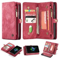 """iPhone XS Max 2018) Case, Alleytech 2 in 1 Handmade Leather Zipper Wallet Case with Detachable Cover & Card Slots + Side Cash Pocket + Magnetic Clasp Closure for Apple iPhone XS Max (6.5""""), Red"""