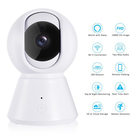 [New 2019] FullHD 1080p WiFi Home Security Camera Pan/Tilt/Zoom - YI IOT App, Work with Alexa - Wireless IP Indoor Surveillance System - Night Vision, Remote Baby Monitor iOS (Best Home Camera System 2019)