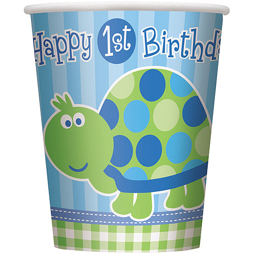 9oz Paper Turtle 1st Birthday Cups, 8ct