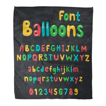 KDAGR Throw Blanket 50x60 Inches Colorful Baby Balloons Alphabet Cute Children Party Announcements Warm Flannel Soft Blanket for Couch Sofa Bed