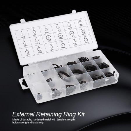 Garosa 300Pcs 2-32mm E-Clip Snap Circlip Kit External Retaining Ring Assortment Set,Circlip Kit,E-Clip Kit - image 3 of 7