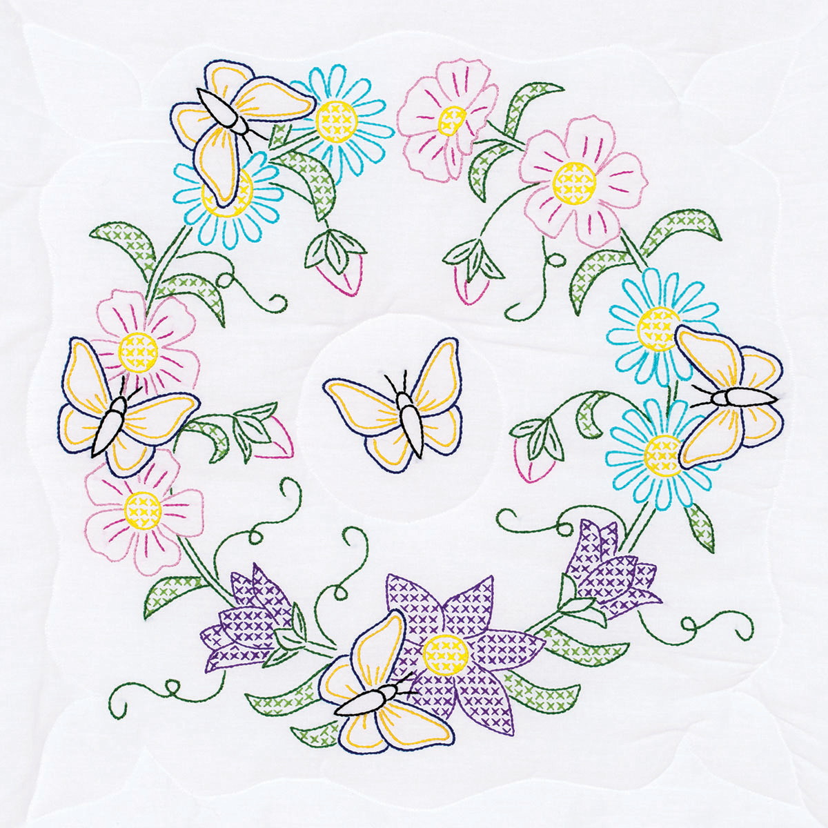 """Stamped White Quilt Blocks, 18"""" x 18"""", 6pk, Butterfly Wreath"""