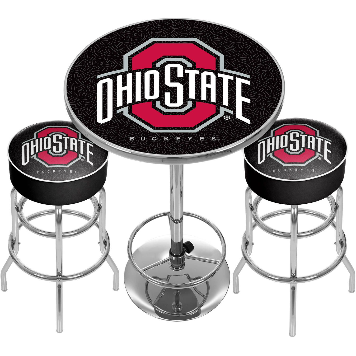 Ohio State University Black Game Room Combo, 2 Bar Stools and Table