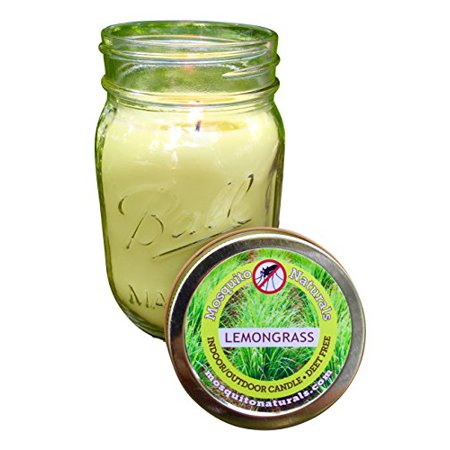 Image of Natural Mosquito Repellent Candle - Deet Free - 88 Hour Burn - Naturally Repels Insects w/ Essential Oils - Indoor Outdoor Decorative Ball Mason Jar - CITRONELLA SOY - MADE IN USA