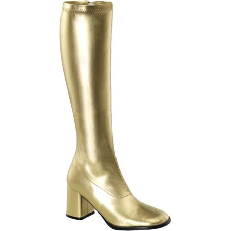 Womens Metallic Gold Boots 3 Inch Block Heel Knee High Go Go Boots Costume Shoe