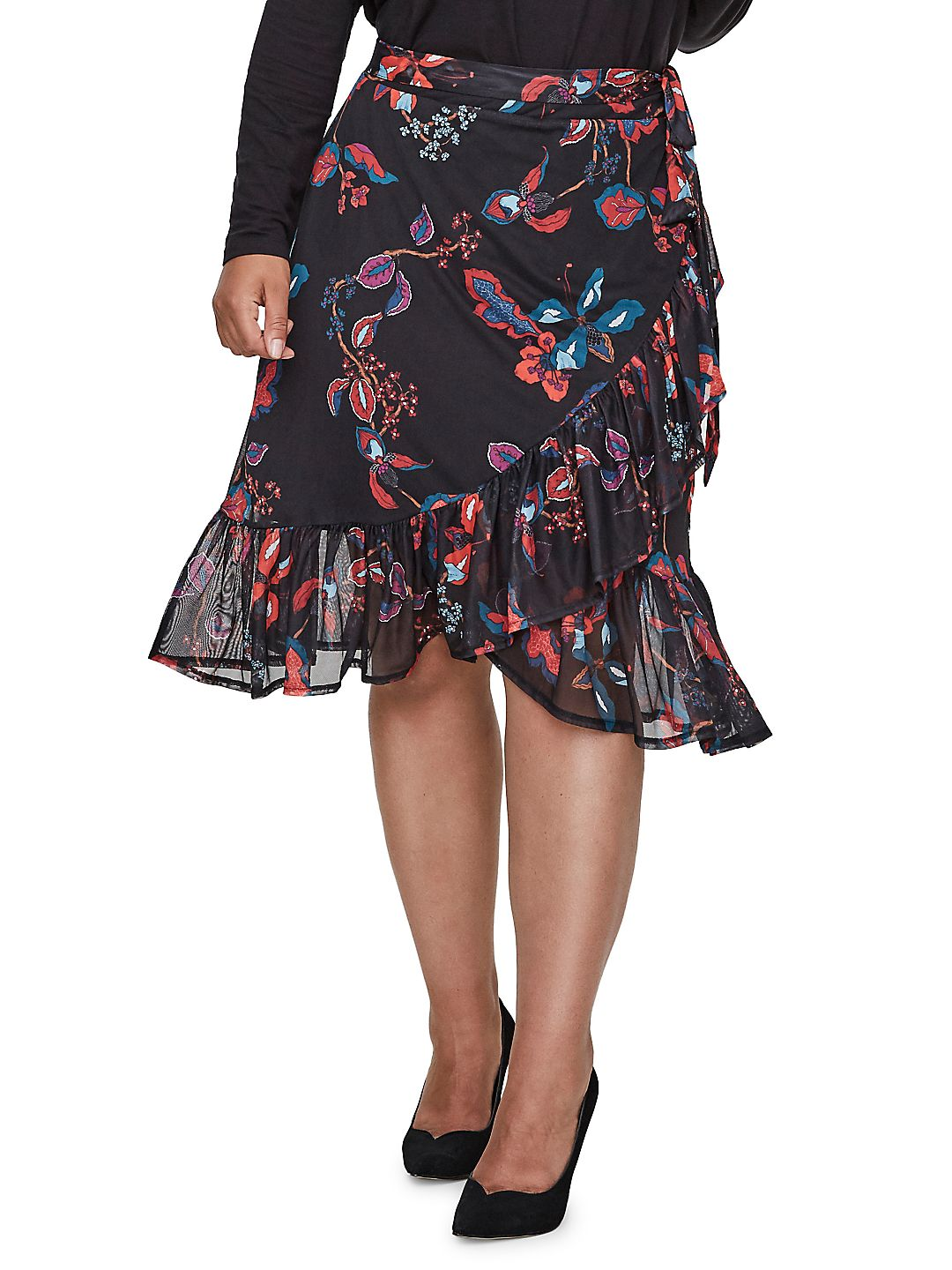 Plus #418 Tonic Floral Knee-Length Skirt