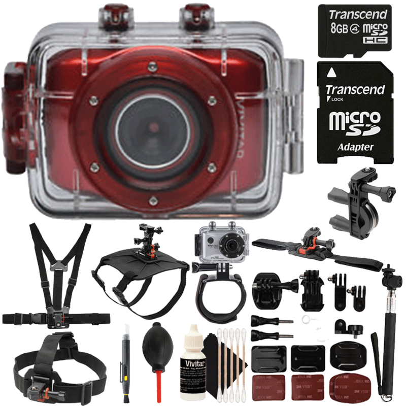 Vivitar DVR783HD Waterproof Action Sports Video Camera Red with Accessories by Teds