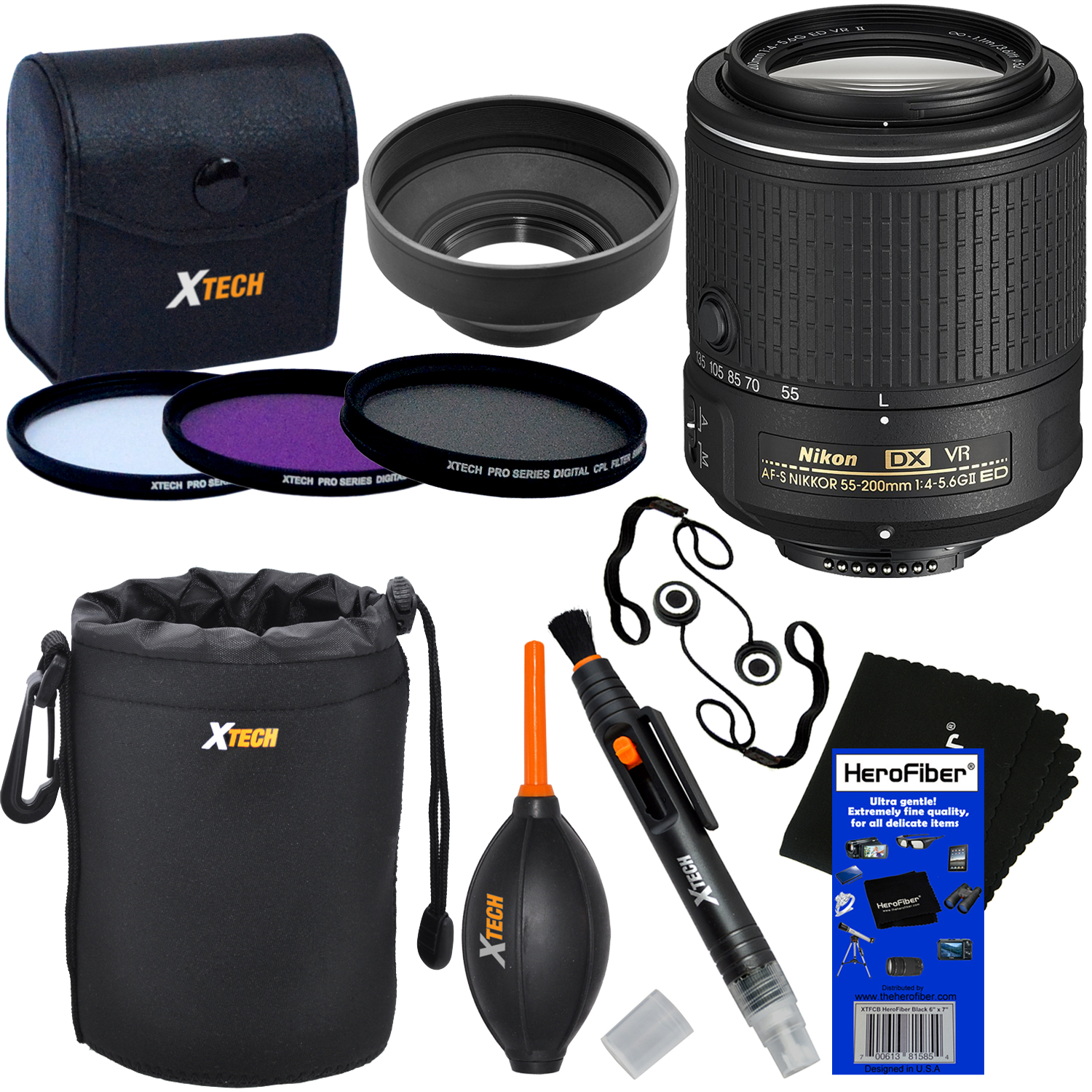 Nikon AF-S DX NIKKOR 55-200mm f/4-5.6G ED VR II Zoom Lens for Nikon DSLR Cameras + 3pc Filter Kit (UV,FL-D,CPL) + 8pc Accessory Kit w/ HeroFiber Cleaning Cloth