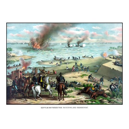 Civil War print showing the Naval Battle of the Monitor and The Merrimack also known as the Battle of Hampton Roads Poster Print