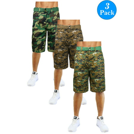Men's Flat-Front Slim-Fit Belted Camouflage Shorts (3-Pack) ()