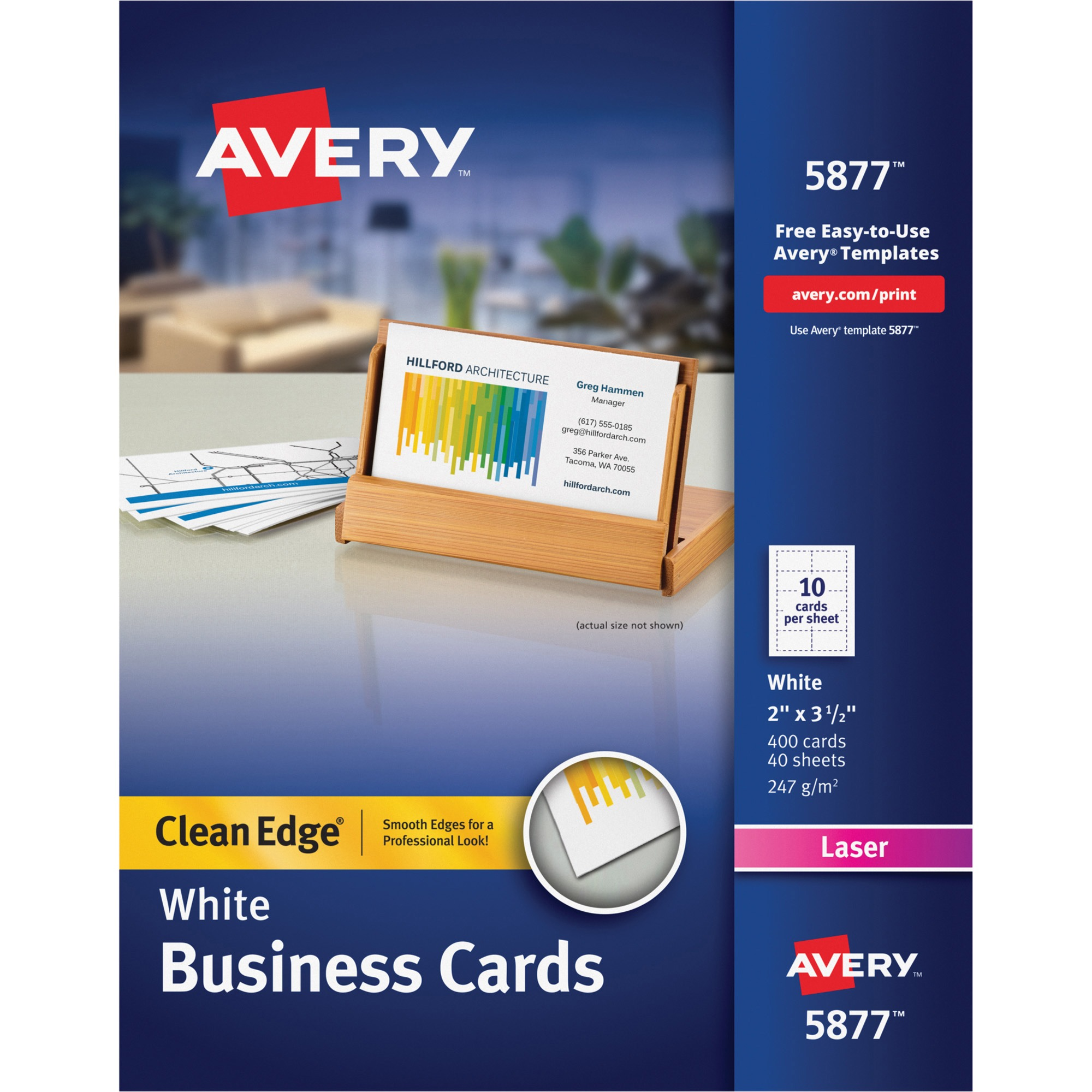 Avery Clean Edge Business Cards, Laser, 2 x 3 1/2, White, 400/Box ...