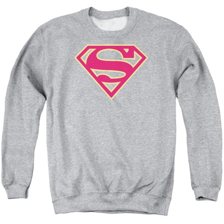 SUPERMAN/RED ; GOLD SHIELD - ADULT CREWNECK SWEATSHIRT - ATHLETIC HEATHER - 3X