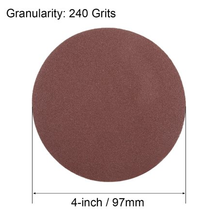 4-Inch Sanding Disc 240 Grits Aluminum Oxide Flocking Back Sandpapers 25 Pcs - image 4 of 5