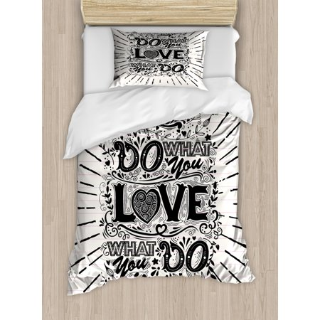 Love What You Do Duvet Cover Set, Hand Drawn Vintage Illustration Hand-lettering and Ornate Elements, Decorative Bedding Set with Pillow Shams, Off White Black, by Ambesonne ()