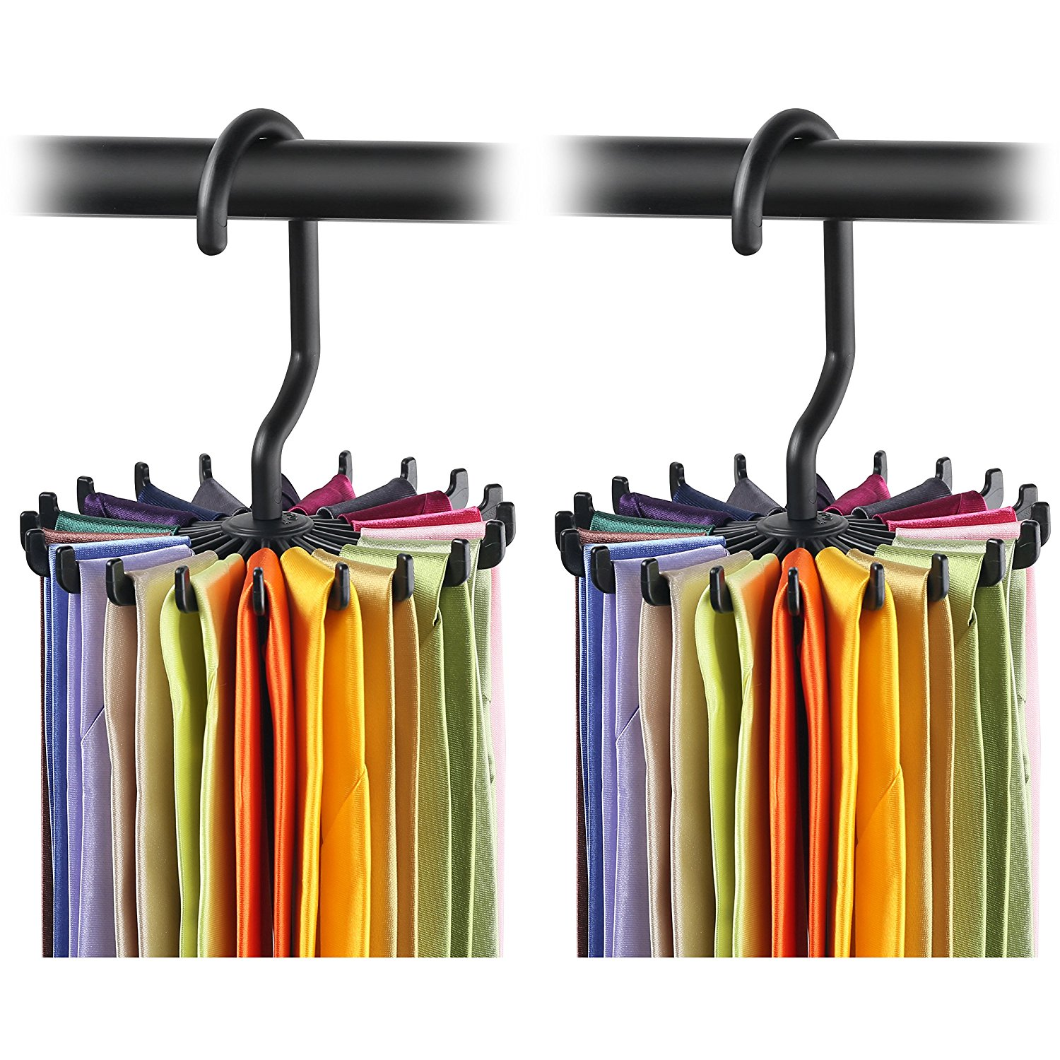 "IPOW 2 Pack 4.4"" Tie Rack Organizer Belt Hanger Adjustable Rotating 20 Hook Neck Ties Twirling Tie Holder Scarves Storage Hangers, Black,  Christmas Day Deal"