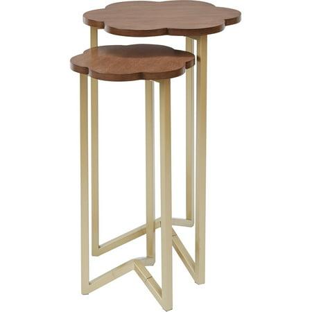 (Better Homes & Gardens Arabella Flower Nesting Tables, Set of 2, Gold Finish)