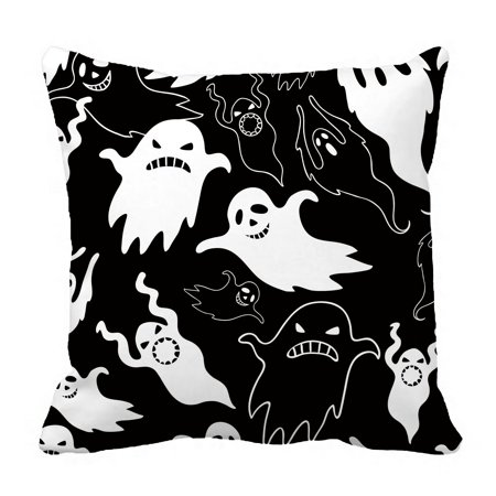 PHFZK Halloween Theme Pillow Case, Halloween Dask Night Scary Ghosts Black and White Pillowcase Throw Pillow Cushion Cover Two Sides Size 18x18 inches for $<!---->
