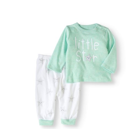 Newborn Baby Boy or Girl Unisex Shirt & Pants, 2pc Outfit Set