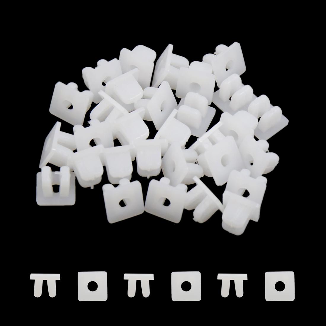 30pcs Carré Blanc rivets plastique Moulage Clips fixation lécheur 8mm - image 1 de 2