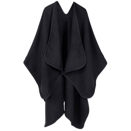 Women's Merino Wool Loose Open-Front Sweater Cardigan Poncho Cape,Black (Wool Poncho For Women)
