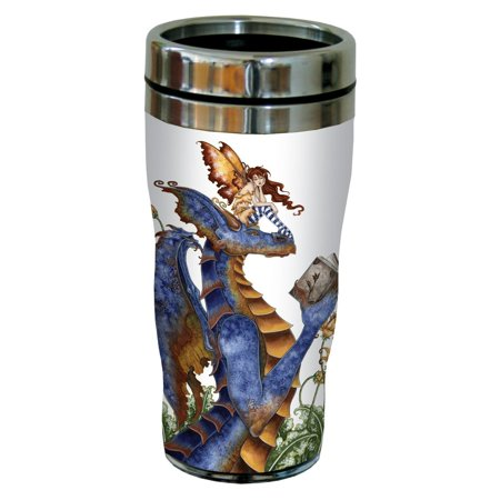 Brown Dragon (Tree-Free Greetings sg23582 Fantasy Book Club Reading Dragon and Fairy by Amy Brown, Sip 'N Go Stainless Travel Tumbler, 16-Ounce,)