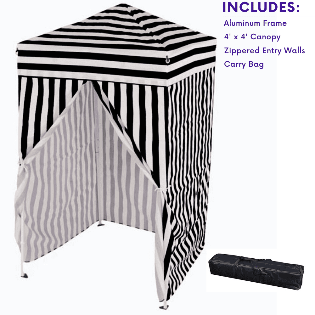 Privacy Cabana Impact Canopy 4x4 Pop up Changing Dressing Room Black // White Portable Changing Room