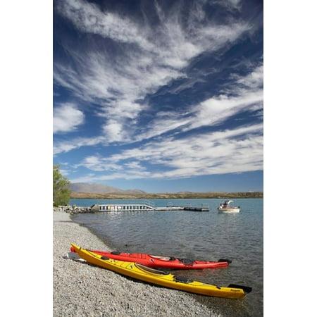 Kayaks Lake Ohau Canterbury South Island New Zealand Stretched Canvas - David Wall  DanitaDelimont (12 x (Best Kayaking In New Zealand)