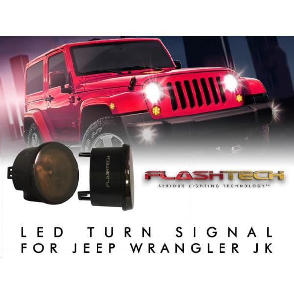Flashtech Jeep JK Turn Signal LED Light Assembly Jeep Wrangler Front LED Turn Signal Lights Indicator Side Maker Parking Lights - Pair