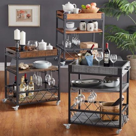 Inspire Q Myra Ii Rustic Mobile Serving Cart With Wine Inserts And Removable Tray Top By  Classic